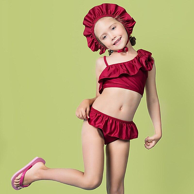 2019 Baby Girls Cute Hot Springs Split Skirt-Style Bathing Suit With Swim Cap GIRL'S Bikini Swimwear Olive Flower 2040