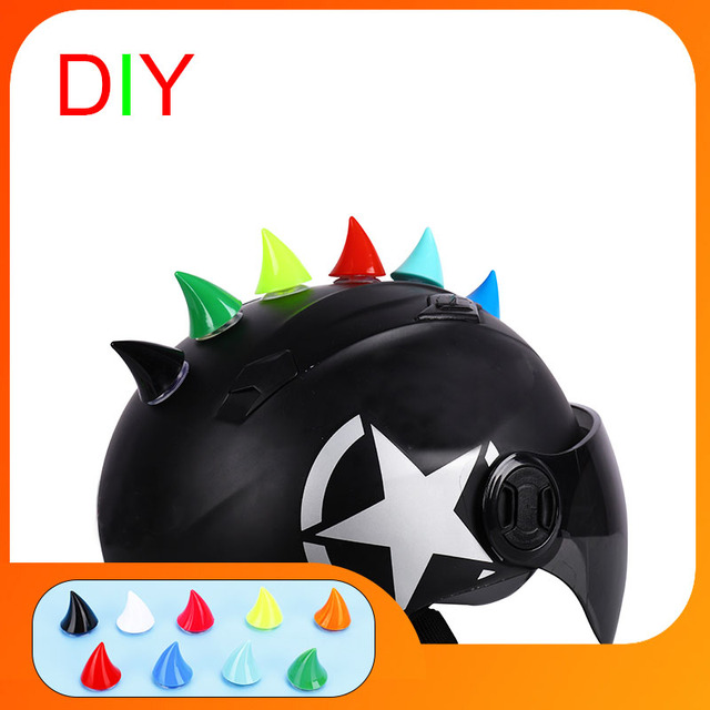 Auto Motorcycle Helmet Devil Horn Motocross Full Face Off Road Helmet Deco Sticker Sucker Cosplay Props Accessories Car styling|Helmets|   -
