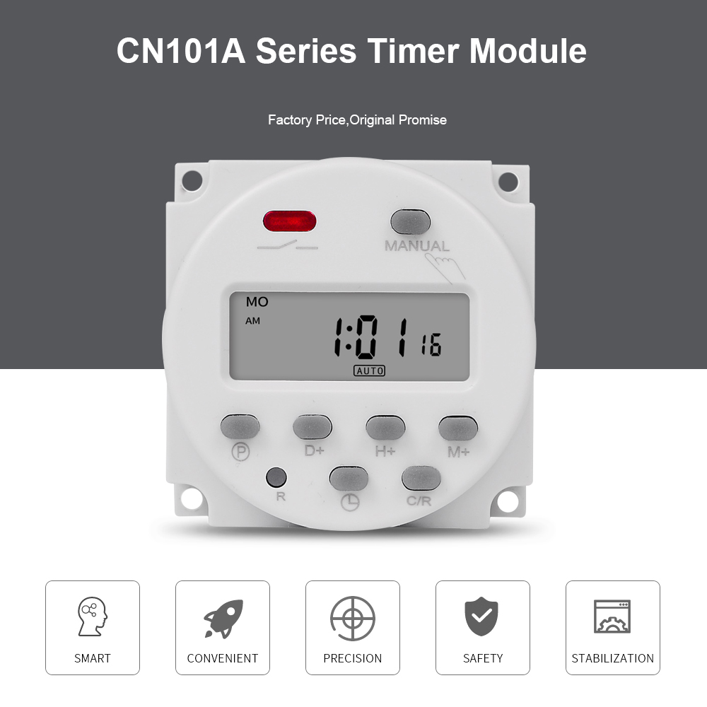CN101A 5V 12V 24V 110V 220V Digital Timer Switch 7 Days Weekly Programmable Time Relay Programmer Built-in Rechargeable Battery