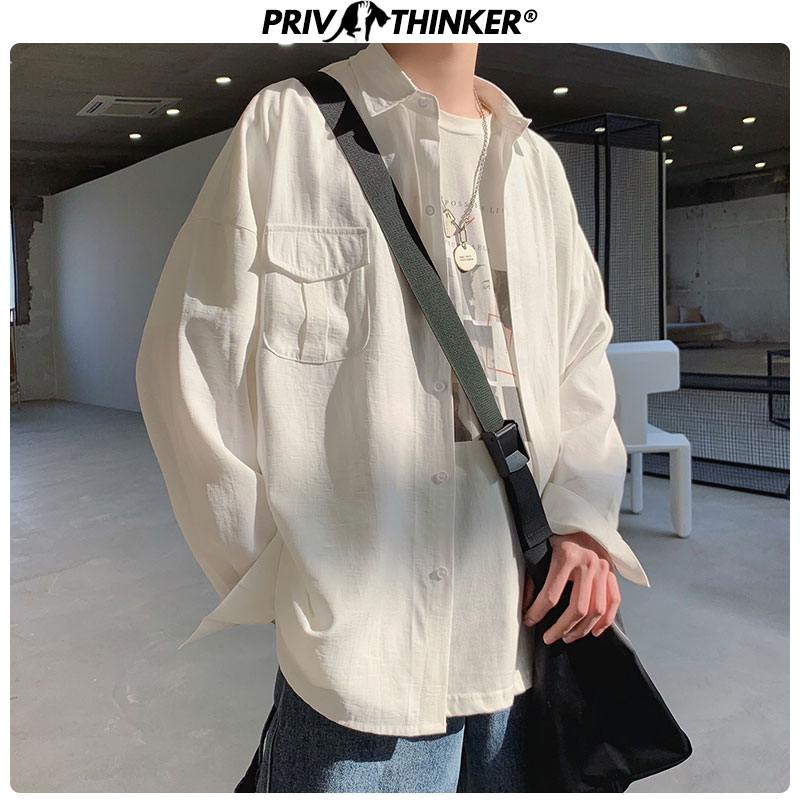 Privathinker Men Summer Solid Black Shirts 2020 Men Pockets Blouse Streetwear Couple Loose Clothes Male Casual Long Sleeve Shirt