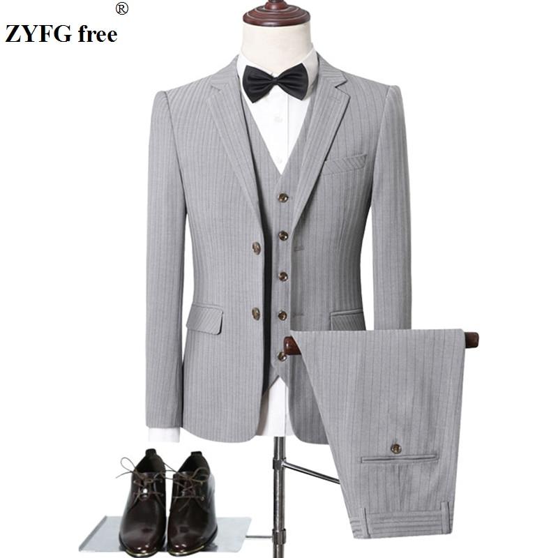 Autumn Winter Men Formal Suits Sets Slim Fit Office Blazers+Pants+Vest Set Stripe Solid Color Men Casual Sets High Quality Sets