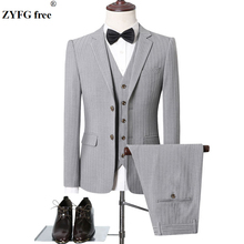 Autumn winter men formal suits sets Slim Fit Office Blazers+Pants+Vest set stripe solid color casual high quality Sets