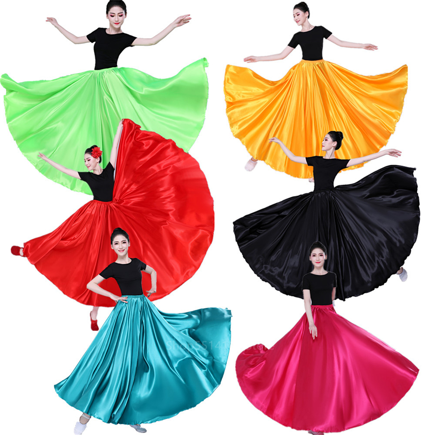 12Colors Spain Dress Women Satin Gypsy Skirts Flamengo Costume for Dancing Spanish Flamenco Bullfighting Belly Adult Stage