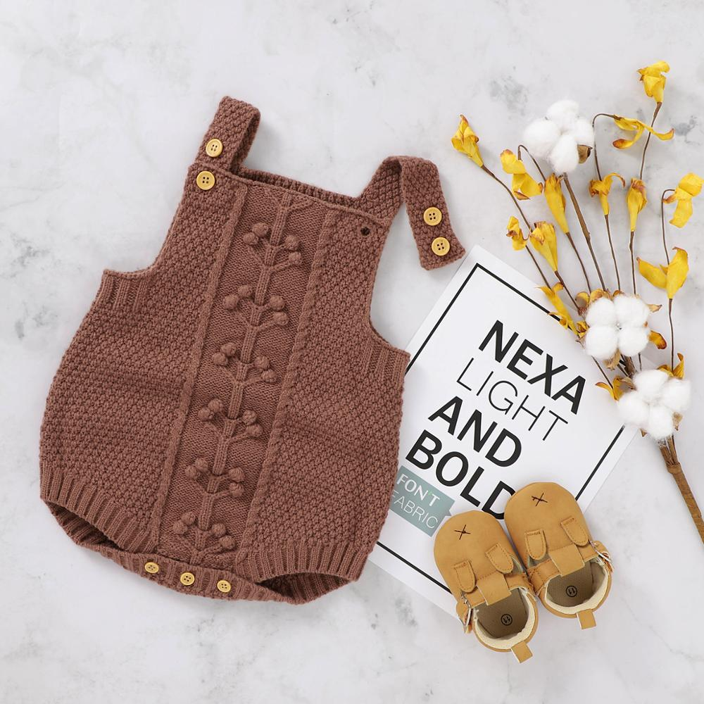Baby Bodysuit Sleeveless Autumn Newborn Boy Girl Jumpsuit Fashion Pompom Toddler Infant Clothing Solid Knitted One Piece Overall