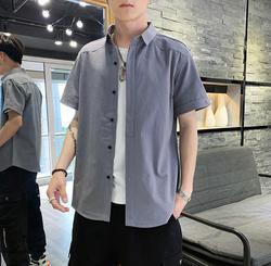 2019 new summer short-sleeved shirt men's five-point sleeve solid color slim large size shirt AA382-01-08