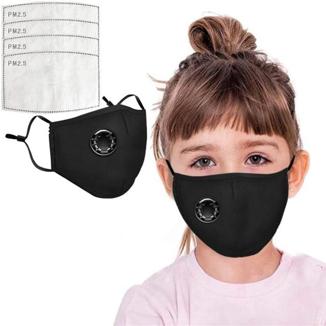 4 PCS Filter Fashion Kids Mask Mouth Respirator Washable Reusable Child Masks Cotton Unisex Mouth Muffle Black Anti Flu Mask 4