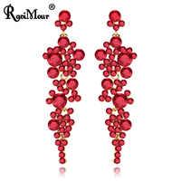 RAVINOUR Luxus Hochzeit Schmuck Roten Kristall Ohrringe für Frauen Lange Ohrring Cocktail Ornamente Indische Erklärung Earing 2018