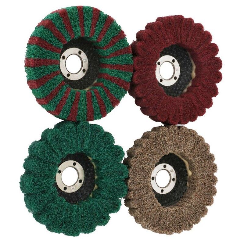 4 pièces 100mm 4 pouces Nylon Fiber rabat roue disque polissage tampon pour meuleuse haute qualité durable