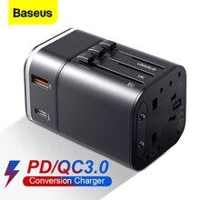 Baseus Quick Charge 3.0 ładowarka USB uniwersalny Adapter podróżny USB C PD QC3.0 szybkie ładowanie międzynarodowe gniazdo wtykowe