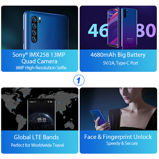 Blackview A80 Plus Smartphone Quad Rear Camera Mobile Phone 4680mAh 6.49'' HD+ 4GB+64GB Octa Core Android 10 NFC 4G Cellphone 3