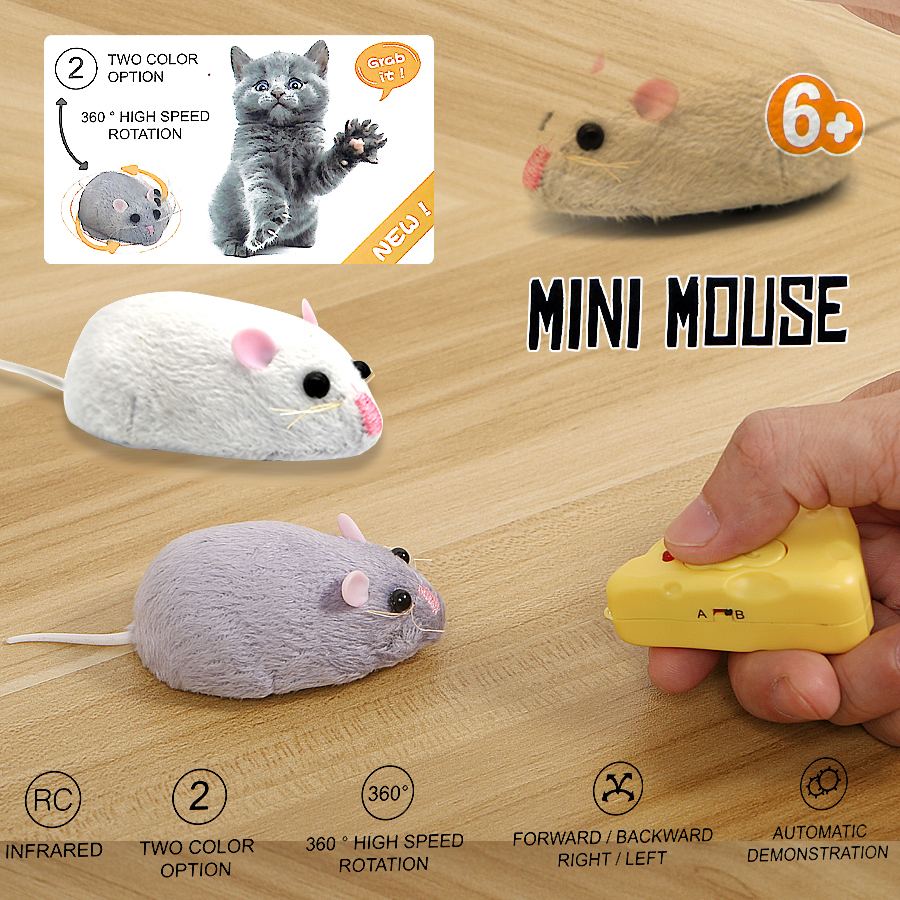 Wireless Remote Control Mouse Fluffy Electronic Mouse Toys , Emulation Toys Rat For Cat Dog Mini Rat Tricky Toy