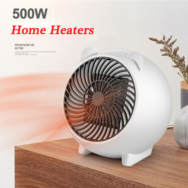 New Mini Electric Heater Home Heaters 500W High-power Household Electric Heater Portable Desktop Mini Adjustable Heater 3 Colors