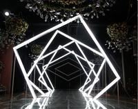 Geometric time tunnel luminous road leading wedding stage layout wedding props acrylic arch with lights