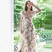 цена на Women V-neck Short Sleeve Ruffle Long Dress Summer 2019 Print Floral Dress Women A-Line Midi Streetwear Woman Dress Plus Size