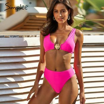 Simplee Sexy chain print swimwear Push up high waist swimsuit Brazilian summer  beach two pieces Bathers bathing suit - discount item  40% OFF Swimwears