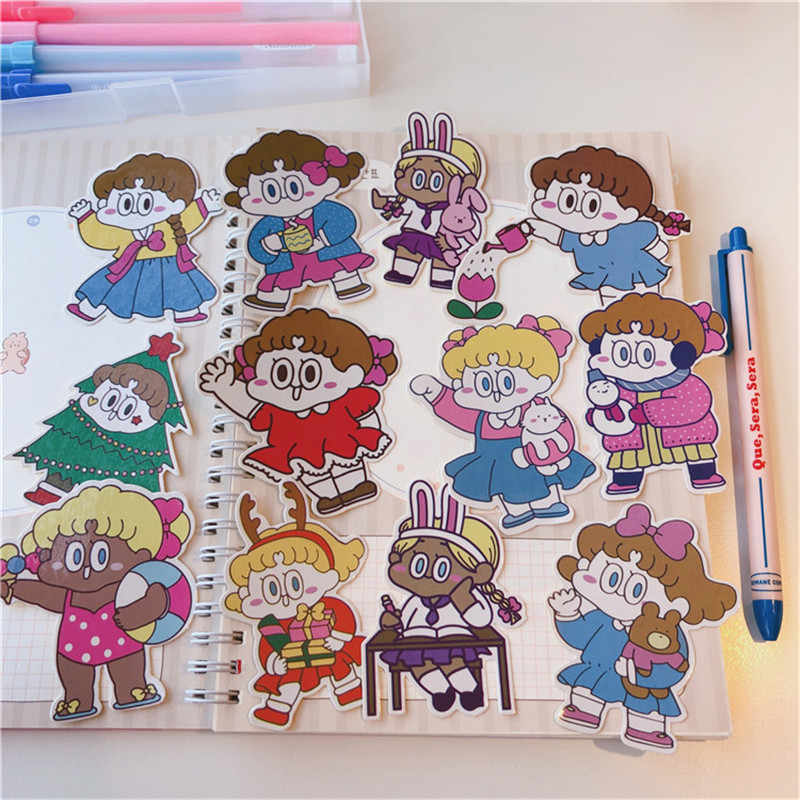 12Pcs/pack Cute INS Girl Decoration Sticker DIY Scrapbooking Label Diary Album Sticker Escolar Toy Sticker Kawaii Stationery