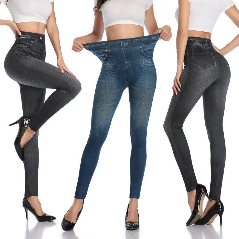 Fashion Slim Women Leggings Faux Denim Jeans Leggings Sexy Printing Summer Leggings Casual Pencil Pants Slimming Leg Panties