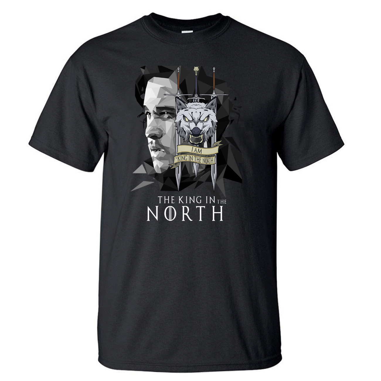 Game Of Thrones Jon Snow TShirt Men House Stark King In The North T Shirt Summer Cotton Short Sleeve Wolf Black T-Shirt Tees