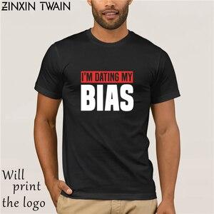 Модная футболка с надписью «my bias kpop» для свиданий, Корейская футболка с музыкальным фанатом, футболка, homme, большие размеры, s-5xl, с коротким ру...