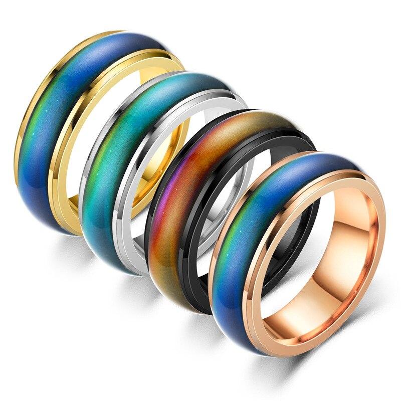 5 цветов s Нержавеющая сталь изменение цвета кольца настроение чувства эмоции температура кольца для мужчин и женщин пары кольца тон ювелир...