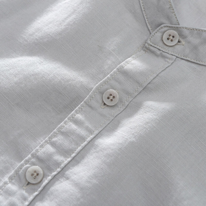 Newly Men Baggy Cotton Linen Solid Short Sleeve Button Down Shirts Tops for Summer FIF66