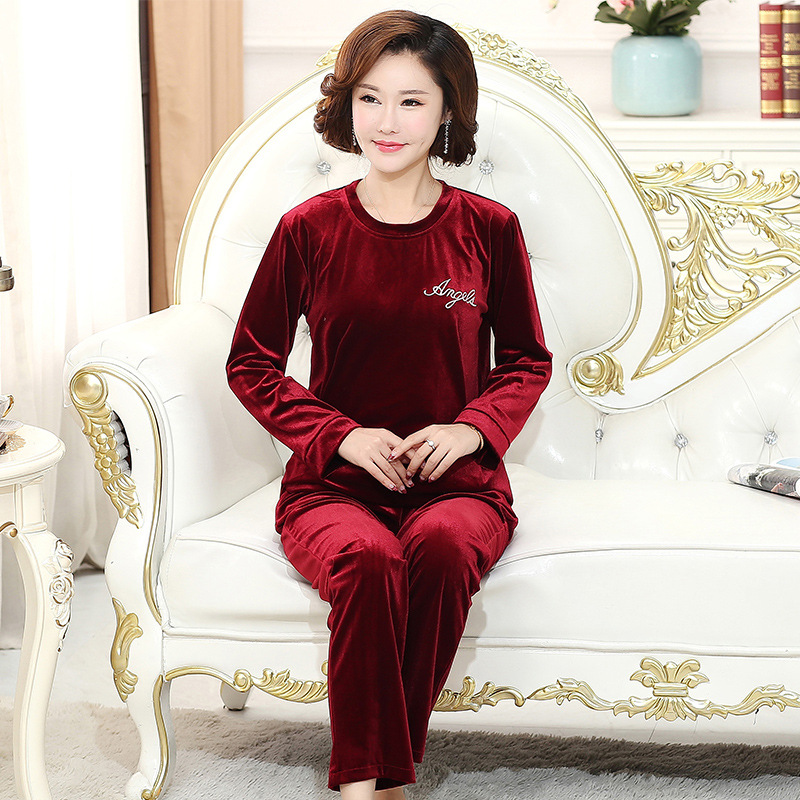 Middle-aged Women Dress Pajamas Middle-aged Spring And Autumn Long Sleeve Pajamas Suit Gold Velvet Pajamas Women's Embroidery La