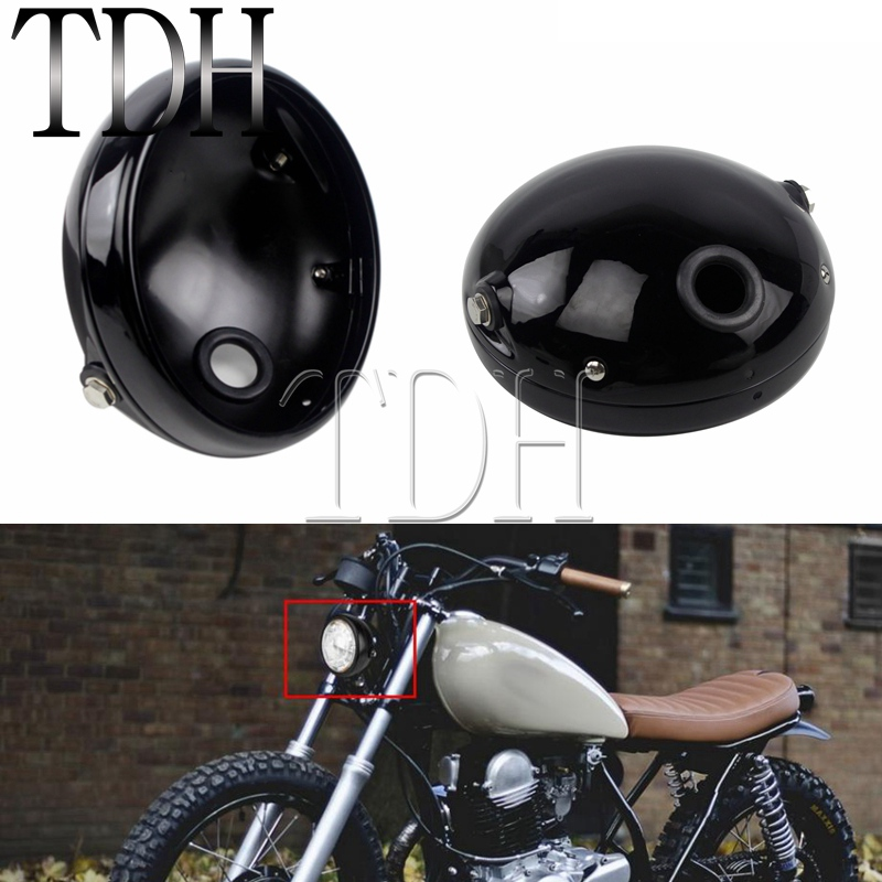 7 Inch Round Motorcycle Headlight Headlamp Black Steel Housing 7