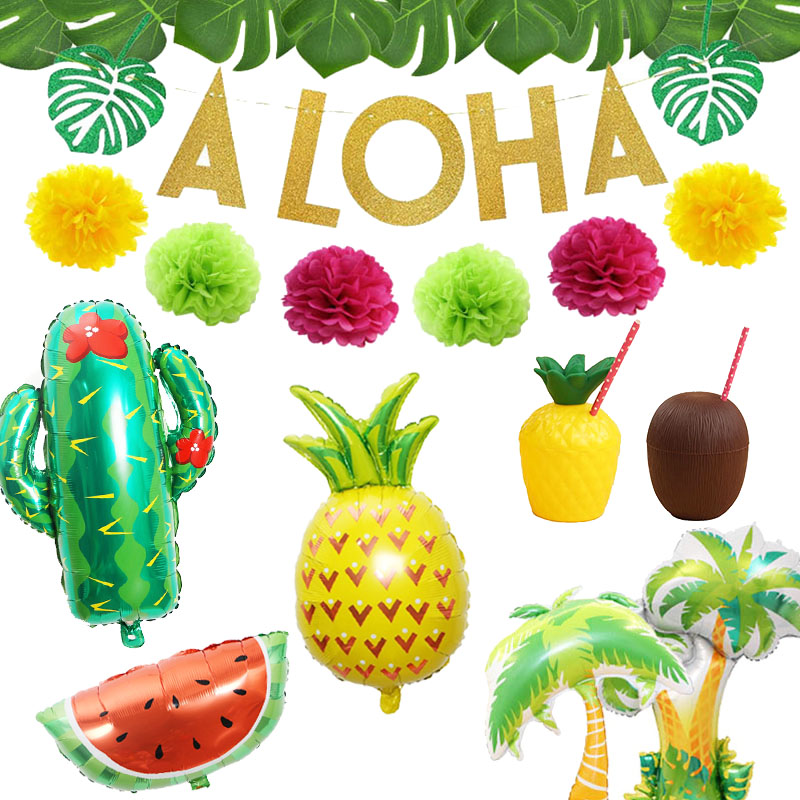 Tropical Hawaiian Party Decorations Pineapple Flamingo Balloons Aloha Garlands Summer Luau Party Birthday Decoration Supplies