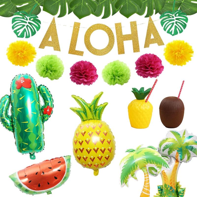 Tropical Hawaiian Party Decorations Pineapple Flamingo Balloons Aloha Garlands Summer Luau Party Birthday Decoration Supplies