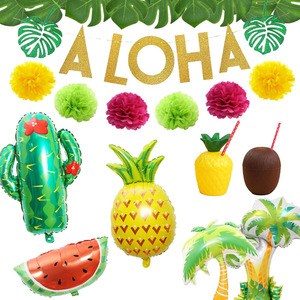 Tropical Hawaiian Party Decorations Pineapple Flamingo Balloons Aloha Garlands Summer Luau Party Birthday Decoration Supplies(China)