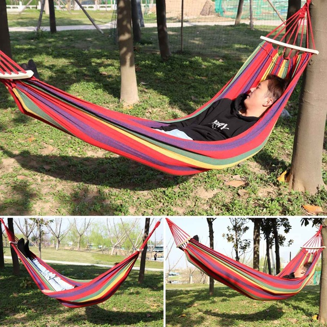 Portable Canvas Hammock Travelling Outdoor Picnic Wooden Swing Chair Camping Hanging Bed Garden Furniture with Backpack 3