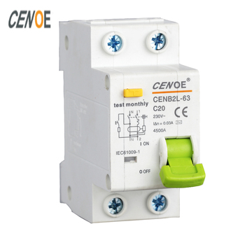 free shipping CE certified residual breaker earth leakage circuit breaker DPNL1P+N 10A16A 25A 32A 40A 50A 63A 230V~ 50HZ/60HZ