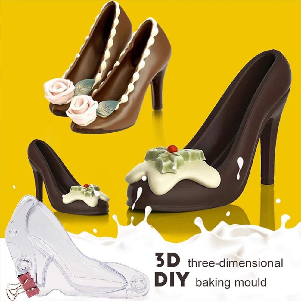 3D plastic DIY Sugarpaste Fondant Mould Shoes Baking Mold Chocolate Cake Tool.