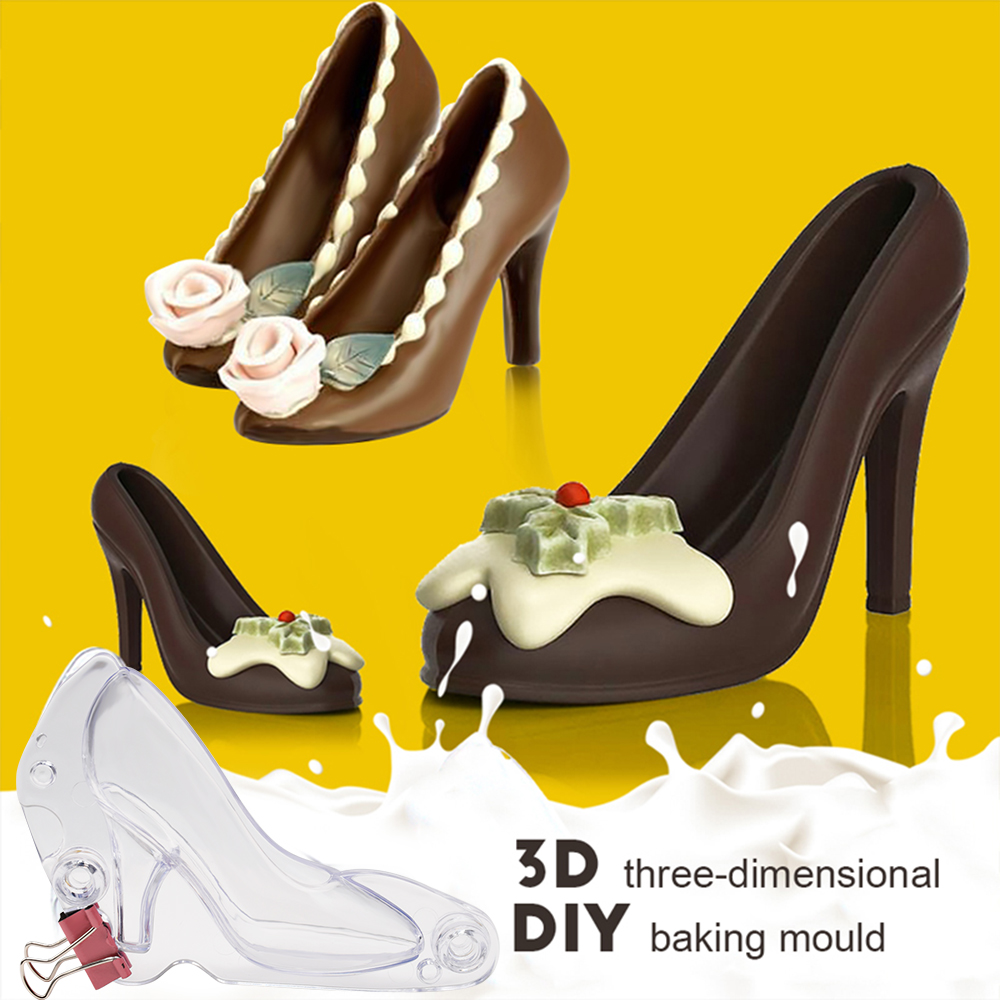 Plastic Mini 3D High Heel Shoe Shape Candy Sugar Paste Mold Cake Decoratiing Tools DIY 3D Chocolate Mold Cake Mold Baking Tools image