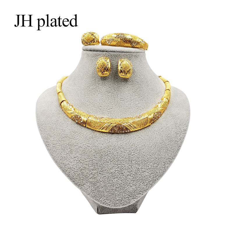 JHplated <font><b>2019</b></font> New Dubai Fashion <font><b>jewelry</b></font> <font><b>sets</b></font> African Gold color wedding gifts party <font><b>for</b></font> women Bracelet Necklace earrings ring image