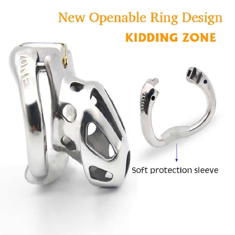 Chaste bird kidding zone 2020 새로운 금속 개방형 링 디자인 남성 순결 장치 페니스 링 벤트 홀 수탉 케이지 섹스 토이