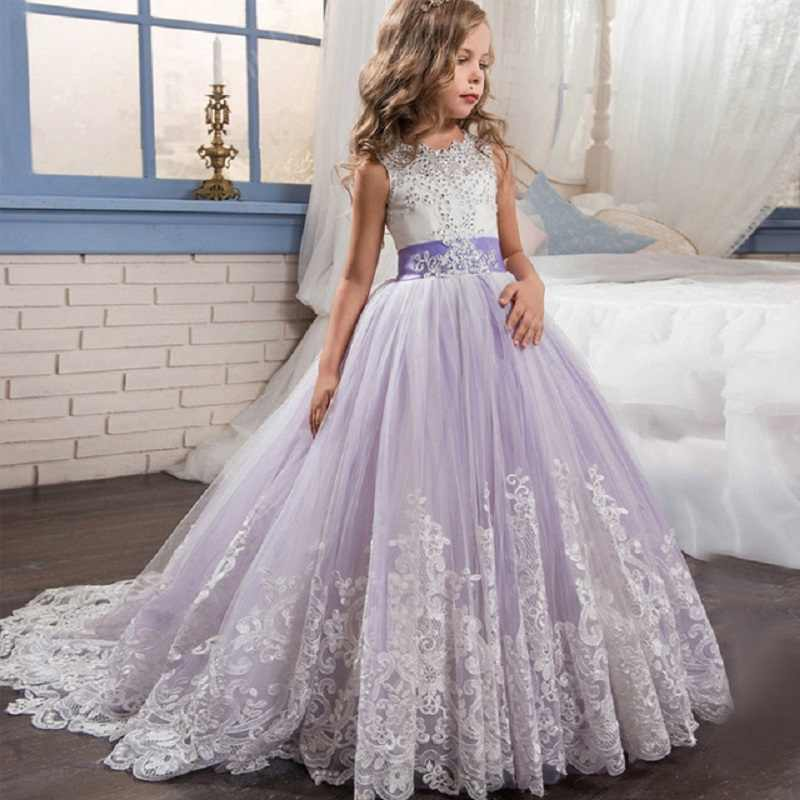Long Sleeve Lace Princess Prom Pageant Communion Bridesmaid Flower Girls Dress