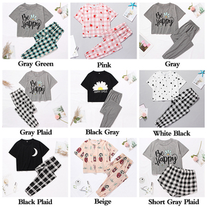 Image 5 - Womens Sleepwear Cute Cartoon Print Short Set Pajamas for Women  Pajama Set Sweet Short Sleeve T Shirts & Shorts Summer Pijama