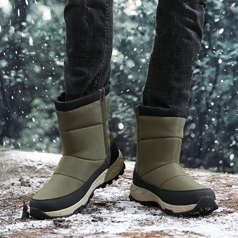 Winter Warm Snow Boots Cold Men Ankle Boots Outdoor Waterproof Sneakers Mens Hiking Shoes Sports Shoes for Male Travel Shoes image