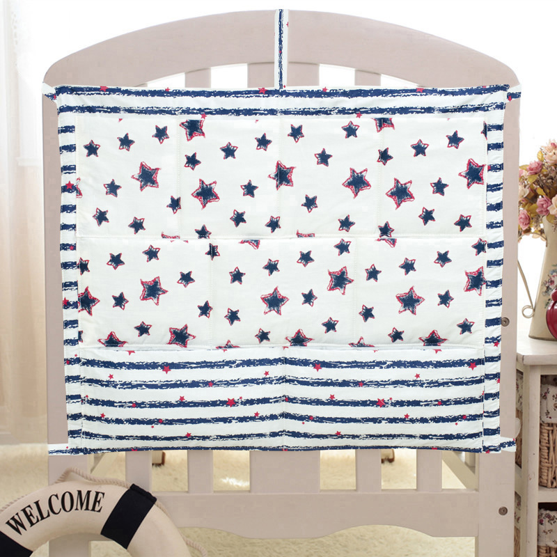 Free Shipping New Baby Cot Bed Hanging Storage Bag Crib Organizer Storage Bag 60*50cm Toy Diaper Pocket For Crib Bedding Set