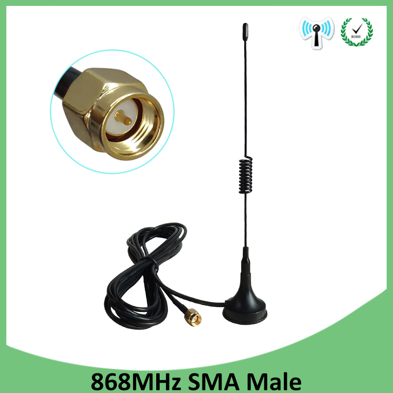 868Mhz <font><b>900</b></font> - 1800 <font><b>Mhz</b></font> GSM <font><b>Antenna</b></font> 3G 5dbi SMA Male With 300cm Cable 868 <font><b>mhz</b></font> 915 <font><b>mhz</b></font> antena Sucker Antenne base magnetic <font><b>antennas</b></font> image