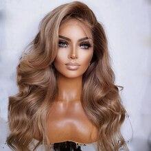 Perruque Lace Front Wig Remy brésilienne naturelle – Body Wave, cheveux de bébé, pre-plucked, blond ombré, 13x4, 26 pouces, peut teindre, lisse, douce, pour femmes