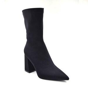 Image 2 - Botines de tela elástica para mujer, botines ajustados con punta estrecha y tacón alto, Sexy, de talla grande, color negro, 2020