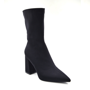 Image 2 - Woman BootsFemale Fashion Stretch Fabric Pointed Toe Slim Ankle Boots 2020 Ladies Slip on High Heel Sexy Black Plus Size Shoes