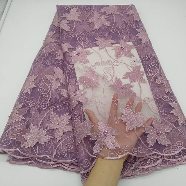 New Purple African Lace Fabric Embroidered Nigerian Guipure for Wedding High Quality 2020 French Tulle Lace Fabric with Beads