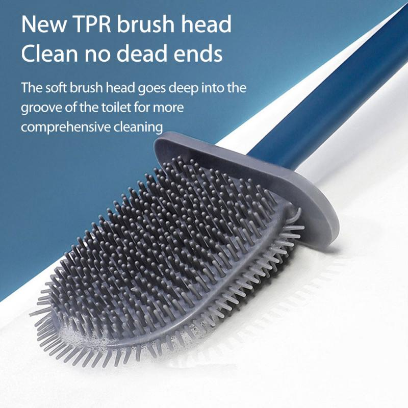 TPR Toilet Brush Rubber Head Holder Cleaning Brush for Toilet Wall Hanging Household Floor Cleaning Bathroom Products Wholesale