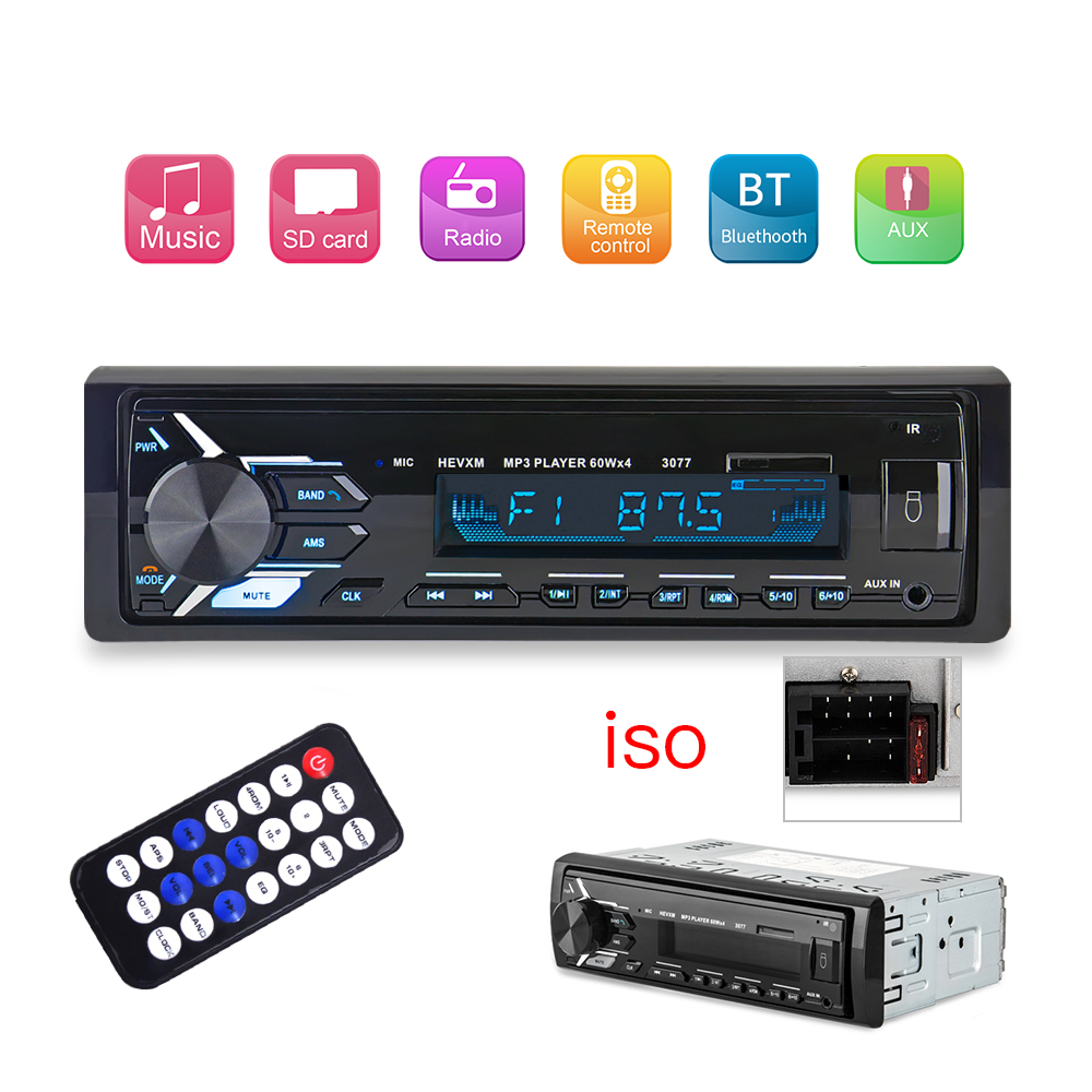 1din Car Radio Stereo Bluetooth Autoradio Phone AUX/USB/MP3 Player FM Receiver Remote Control 12V Audio Auto Radio Charge indash image