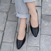 Handmade Genuine Leather Retro Pointed Toe Heels Pumps Women Shoes Block Heels Slip On Office Shoes Black/Camel