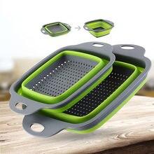 QDRR-colador plegable de silicona, cesta para lavar frutas y verduras, con utensilios de cocina con mango