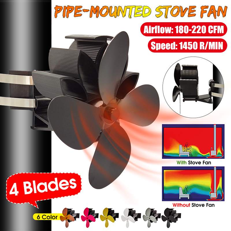 Clamp Mounted Type 4 Blade Heat Powered Stove Fan Komin Log Wood Burner Eco Friendly Quiet Fan Home Efficient Heat Distribution